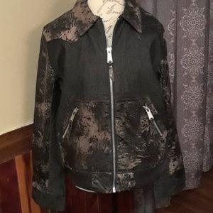 Leather/denim jacket
